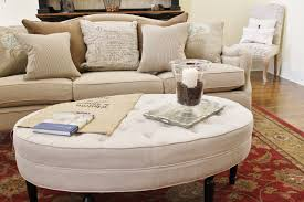 Renate Coffee Table Ottoman Coffee Table Tufted Ottomans With Modern Silver Trays Double As