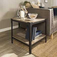 angle iron rustic wood end table set