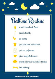 Simple Bedtime Routine Chart Printable Adore Them