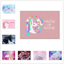 <b>3D Cartoon</b> Pink <b>Unicorn Pattern</b> Carpets Child Bedroom Play Area ...