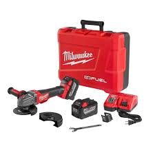 cordless grinder. milwaukee m18 fuel 18-volt lithium-ion cordless brushless 4-1/2 in./5 in. braking grinder kit-2783-22 - the home depot