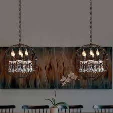industrial 6 light chandelier with metal cage frame and crystal decoration