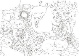 かわいい5匹の白い猫と花模様のぬりえです ぬりえラボ