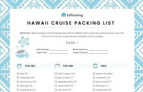 7 Day Cruise Packing List Hawaii Cruise Family Packing List Ezpacking Inc