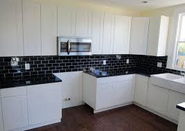 tile kitchen countertops white cabinets. Black And White Small Kitchen Interior Design With Pearl Granite Countertops False Brick Backsplash Ideas Tile Cabinets