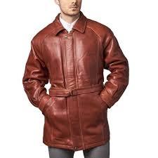 mens clothing men s brown leather belted 3 4 length coat avll96639