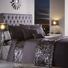 dazzle sequin modern duvet cover set charcoal grey hover to zoom