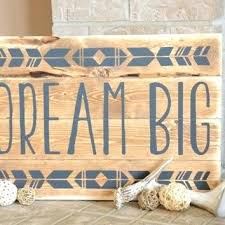 dream big wood sign rustic shabby chic home decor wall hanging little one wooden antlers nursery