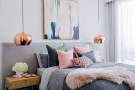 bed room pink. Gray And Pink Bedroom With Copper Lights Bed Room