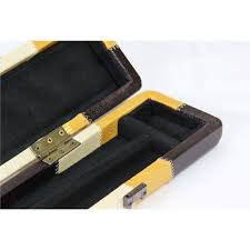 gold patchwork leather effect cue case holds 3 4 jointed snooker pool cue
