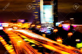 Building Focus Lights Colorful Of City Modern Buildings Night And Road Light Abstract