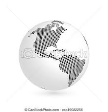 Planet Earth Globe With Black Squared Map Of Continent America 3d