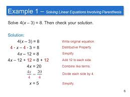 example 1 solving linear equations involving pahesis
