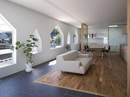office floor design. Cozy House Jigozen Suppose Design Office Open Floor Plan With Wooden Island And Black Stools Near