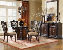 furniture round glass top dining tables with with dark brown wooden base added by dark