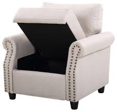 classic living room linen armchair with nailhead trim and storage space beige
