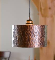Screw-In Hammered Copper Drum Pendant Shade