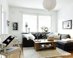 living room charming small living room design with corner black leather sofa set and rectangle