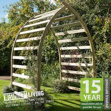 new wooden curved garden arch boat