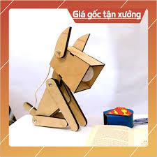 Đèn học để bàn đọc sách bằng gỗ Plywood hình Cún siêu Cute nhiều tư thế  sáng tạo