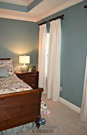 Sherwin Williams Moody Blue, Master Bedroom, Beige Carpet, White Drapes,  Wood Furniture. Kylie M E Design, Online Paint Color Consultant