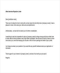 Sample Rejection Letter After Interview Confidence220618 Com