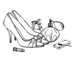 Small Picture Shoes and makeup coloring page Coloringcrewcom