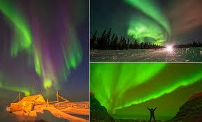 Purple Green Awe Rora Borealis Green And Purple Light Dances Across The Alaskan