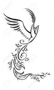 Decorative Phoenix Flying Bird Graphic Tattoo