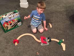 the author s son with his brio world smart tech trains kristin john