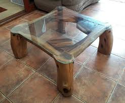 solid wood coffee table with glass top for