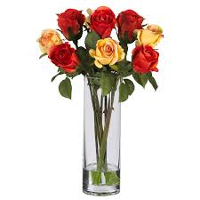 ... Glasses Vase Flowers Simple Classic Decoration Red Roses Orange Water  Formidable Pictures Personalized ...