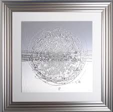 silver framed floral wall art