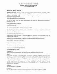 Delivery Driver Resume Examples Sample Resume For Driver Delivery Inspirational Delivery Driver