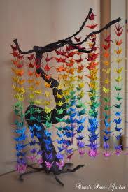 degrade paper crane curtain