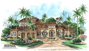 the monterro is a style house plan design with ornate arched windows a grand entry with a heavy arched wood door with luxury waterfront home plans