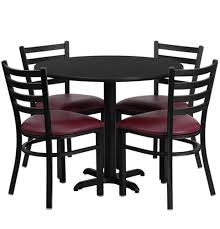 36 round black laminate dining table set with 4 burdy chairs