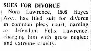 Divorce filing Felix Lawrence 111660 same page as obit for Laurin Walton -  Newspapers.com