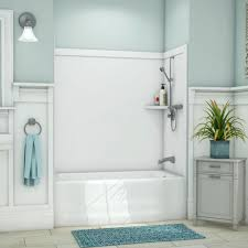 flexstone elite 32 in x 60 9 piece easy up adhesive lyons industries kvtl01542716r white acrylic matching bath tub