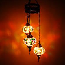 Oosterse Hanglamp Mozaïek 3 Bollen Meerkleurig Design H110cm