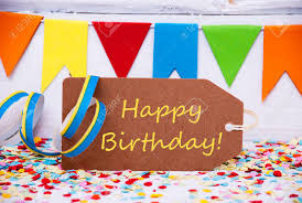 Label With English Text Happy Birthday Party Decoration Like