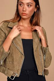 Back In Action Tan Suede Leather Cropped Moto Jacket