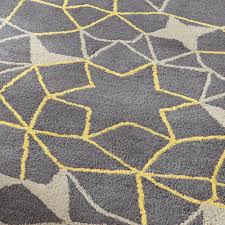 grey yellow geometric rug 100 wool arrows stars hand tufted large floor mat