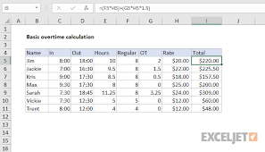 Overtime Calculation In Excel Format Excel Formula Basic Overtime Calculation Formula Exceljet