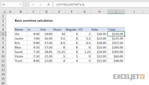 Salary Chart In Excel Format Excel Formula Basic Overtime Calculation Formula Exceljet
