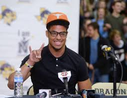 texas closes out recruiting class frenzy com nacogdoches high school football player brandon jones gestures a