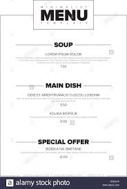 Typography Design Layout Modern Minimalistic Restaurant Menu Template Design Layout