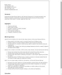 Resume Templates: Document Review Attorney