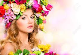 春女性美の肖像画花の髪型と