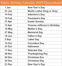 Calendar 2019 Printable With Holidays Free Qld Queensland Public Holiday 2019 Calendar Templates Free